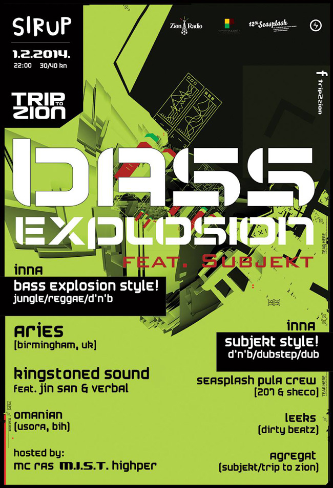 Trip to Zion pres. Bass explosion! & Subjekt [dj Agregat's B-day]