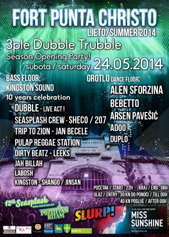 3ple Dubble Trubble Party Fort Punta Christo Season 2014. Opening Party