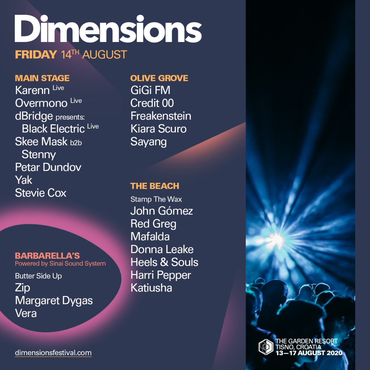 Objavljen detaljan program Dimensions festivala 2020 na pozornicama u The Gardenu i klubu Barbarella's